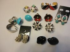 Vtg Lot 9 Per Wholesale Earrings Moon Glow,Enamel,Rhinestone,Bakelite?  #73