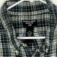 Ralph Lauren Jeans Mens Flannel Shirt LS Green White Plaid 2XL