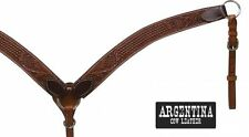 """Showman ®  1 3/4"""" Argentina cow leather breast collar with floral & basket weave"""
