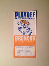 1977 NFL PLAYOFF TICKET STUB Pittsburgh STEELERS @ Denver BRONCOS 12/24/1977