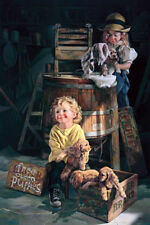 "BOB BYERLEY ""Free Clean Puppies"" 24"" X 36""  (RARE) SIGNED and Numbered Print"