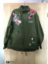 Zara Woman Khaki Embroidered Oriental Parka Jacket Size Medium New With Tags