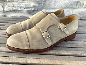 MEERMIN Suede Leather Double Buckle Monk Dress Shoes Beige Mens Size 9 UK/ 10 US