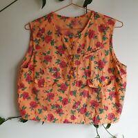 Vintage Handmade Pastel Orange Red Floral Boxy Crop Top L-XL Cotton 80s 90s