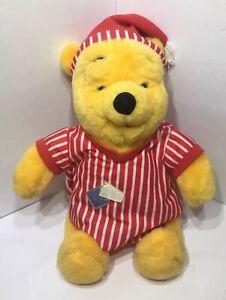 DISNEY Winnie The Pooh Stuffed Animal Plush Red & White Striped Pajamas W/ Hat