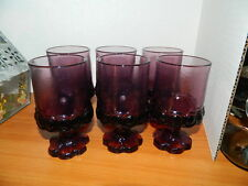 Purple Plum Amethyst Glass Wine / Water Goblets Set Of 5 Franciscan Madiera