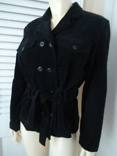 EMANUEL UNGARO Sz 8 Blazer Black Wide Wale Cord Belted Double Breasted ButtonHOT