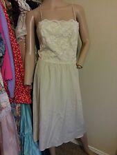 VTG 70's I.Magnin Jerry Silverman Nude Floral Lace Sheer Slip Dress