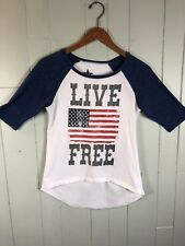 Womens Red White Blue Flag Live Free 4th of July 3/4 Sleeve Cotton T Shirt Small