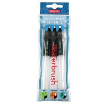Derwent Waterbrush Multi-Pack Brushes with Clear Water Barrel Pack of 3