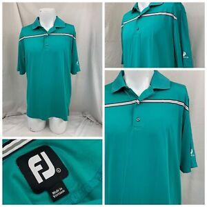 Footjoy Golf Shirt L Green Stripe Poly Stretch Polo Short Sleeve Mint YGI U1-720