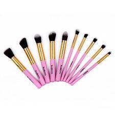 Pink 10pcs Round Eyeliner Brush Thread Cosmetic Make Up Brushes Set Golden Gilt