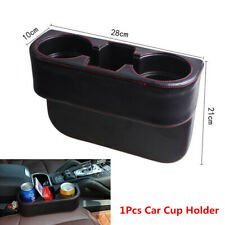 Car Seat Seam Wedge Cup Holder Food Drink Bottle Mount Storage Black Leather