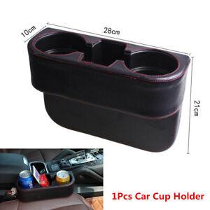 Car Seat Seam Wedge Cup Holder Food Drink Bottle Mount Storage Black Leather