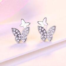 Sparkly CZ Butterfly Studs Earrings Sterling Silver Jewellery Women Girls Gift