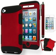 For iPod Touch 4, Hybrid Black and Red Case Cover +Stylus +Screen Protector