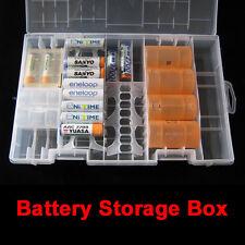 Rack Transparent AA AAA C D 9V Hard Plastic Battery Case Holder Storage Box #Cu3