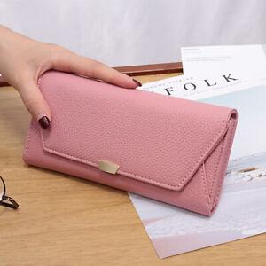 Pink Women Long Fashion Lychee Pattern Buckle Tri-fold Envelope Mobile Wallets