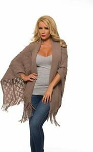 Uptown Downtown Beige Soft Knitted Fringe Poncho Shawl Cardigan Wrap Cape Sweate