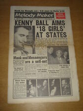 MELODY MAKER 1961 APRIL 29 KENNY BALL CRAIG DOUGLAS DIZZY GILLESPIE MATHIS +