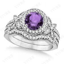 14k White Gold Amethyst Diamond Gemstone Engagement Wedding Ring