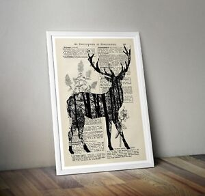 Stag Print - Nature art Book page - Dictionary Encyclopedia Art Wildlife vintage
