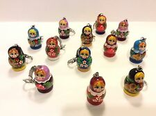 Lot Of 5 Russian Hand Painted Nesting Doll Matryoshka Key Chains