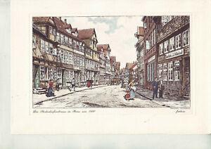"""Vier Radierungen """"Peine um 1900"""" handkoloriert und 15 Drucke/Kunstmappe/s. Abb."""
