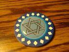 STAR OF DAVID Epoxy Diamond design Poker Chip,Golf Ball Marker,Card Guard Blue
