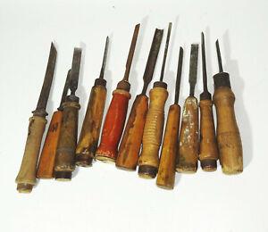 11 Pieza Viejo Formón de Madera Herramienta Desbastador Cinceles Vintage