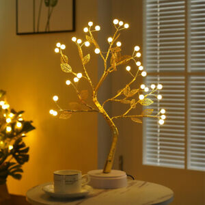 LED Blossom Tree Fairy Light Table Bedside Lamp Room Party Bonsai Decor Gift