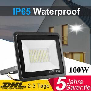 100W LED Fluter Flutlicht Garten Außen Baustrahler Scheinwerfer  IP65 Floodlight