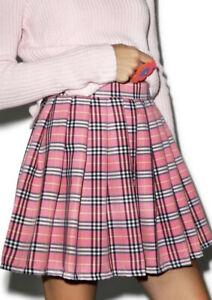 Pink Mini Check Tartan Pleated Skirt Labelled XXL Fits M L 12 14 See Measure