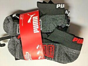 PUMA BOYS  LOW CUT SOCKS BLACK RED TRIM (6) PAIRS size 9-11  NIP
