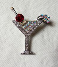 AB Crystal Rhinestone Silver Color Martini Pin Brooch