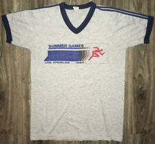VTG 1984 Los Angeles Summer Games Ringer 50-50 V-Neck Gray T-Shirt Fits Sm/Med