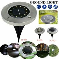 Solar Power 16LEDs Flat Buried Light In-Ground Lamp Outdoor Path Garden Decking