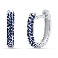 Blue Sapphire Huggie Hoop .925 Sterling Silver Earrings
