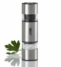 AdHoc DUOMILL MINI Salt & Pepper GRINDER Double Sided 11cm tall STAINLESS STEEL