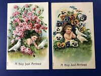 2 BOY Birth Announcements Antique Postcards. 1900s. For Collectors. Nice w Value