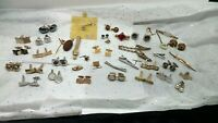 Vintage Large ESTATE Lot MEN'S JEWELRY Cuff Links Tie Clips Pins SWANK & MORE