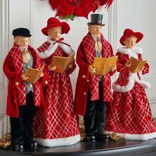 "3700773 Set/4 18.5"" Carolers Victorian Red Black Christmas Figure Decoration"