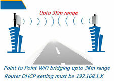 WiFi Bridge Pair * Long Range WIFI Repeater Antenna Coverage upto 3Km wide range