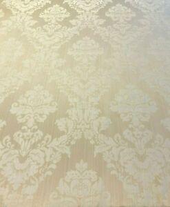 Madagascar Designer Curtain Brocade Damask in Ivory | Curtain Upholstery Fabric