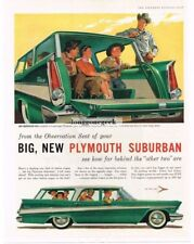 1957 Plymouth Suburban Sport Station Wagon Green White 4-door art Vtg Print Ad
