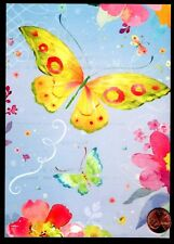 PAPYRUS Butterflies Watercolor  Flowers Lavender  -  LARGE Blank Note Card - NEW