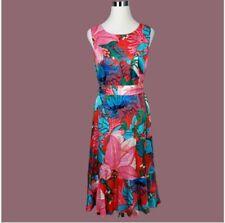 Talbots RSVP Floral Print Dress Sleeveless Tie Waist Fit Flare Ruffle Hem - Sz 6