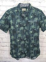 Level Ten Hawaiian Vacation Cruise Button Up Shirt Blue Palm Medium