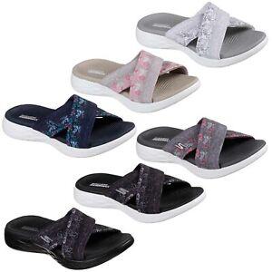 Skechers On The Go 600 Monarch Slides Womens Memory Foam Summer Sandal Flip Flop