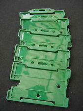 5 Green Security ID Card/Badge Holders For Neck Lanyard/Belt Clip - First Aiders